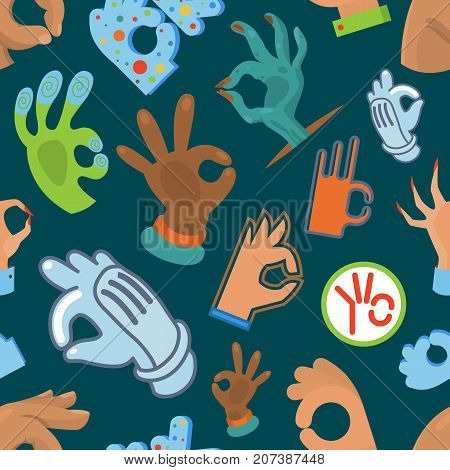 Ok hand gestures human arm Okey symbols seamless pattern background vector illustration. Success and good embroidery background vector.