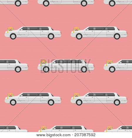 Vector seamless pattern luxury limousine long car transportation detailed design auto business transport design speed pickup graphic. Automobile limo background.