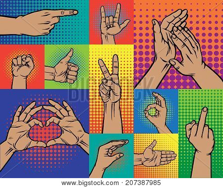 Hand pointing finger pop art arm gestures retro comic style people gesturing communication sign vector illustration. Expression popart graphic cartoon comic concept.