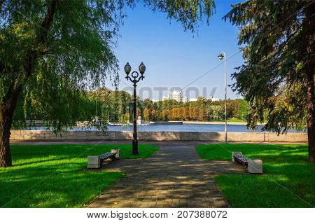 View of the Svisloch River embankment and the Communist street in the central part of Minsk Belarus. September 22 2017 editorial