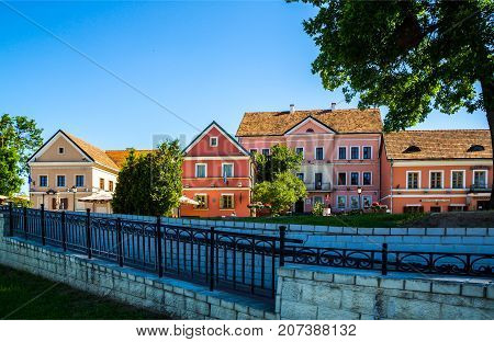 Belarus - July 01 2017 the Old Town of the Trinity (Troitskoye suburb) in Minsk editorial