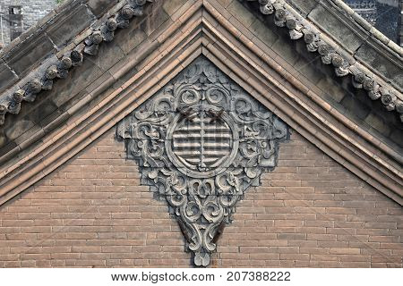 The ornamental gable wall of traditional chinese house.
