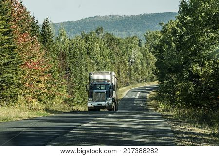 Semi truck on Highway in deep forest in Canada ontario quebec
