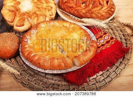 Fresh baked traditional pie with orange confiture