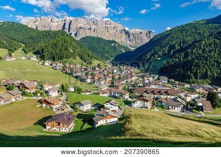Wide angle view of Selva di Val Gardena, italian alps
