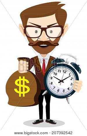 Time is money concept background. Money saving. Time management. Stock flat vector illustration.