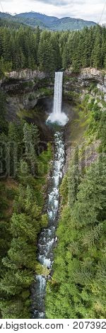 Panoramic helicopter view of popular hiking destination with beautiful Canadian waterfall