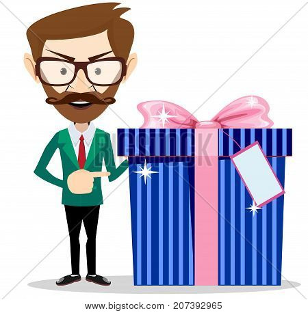 Businessman holding a gift. Stock flat vector illustration.