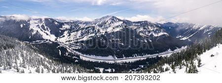 Panormaic aerial view of Popular winter recreaction destination in the Pacific Northwest poster