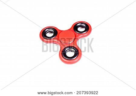 Red Fidget Spinner Isolated On White