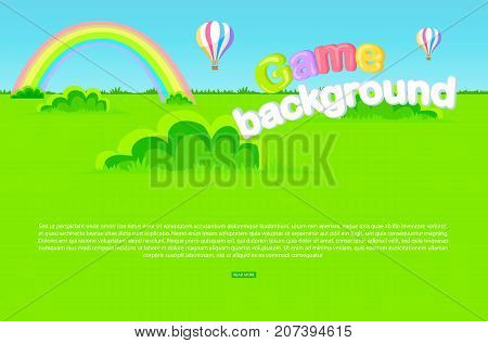 Game background vector illustration with cartoon meadow, green grass and bushes, rainbow, bright air balloons and blue sky