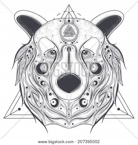 Grizzly bear head with ancient pagan valknut symbol on forehead line art vector illustration isolated on white background. Totem animal with abstract geometric ornaments on muzzle. Pagan folk tattoo