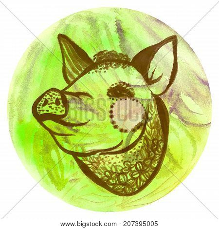Watercolor badge with pig Vegan style illustration