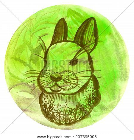 Watercolor badge with rabbit Vegan style illustration