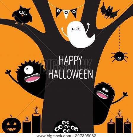 Ghost pumpkin spider monster candle owl eye eyeballs in hollow. Black tree silhouette. Bunting flags Boo spooky cute cartoon character set. Happy Halloween. Orange background Flat design. Vector