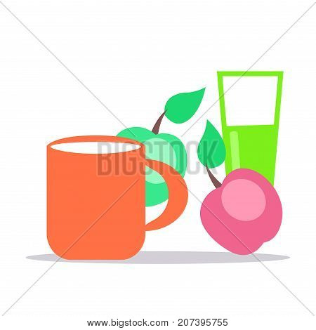 Little baby nutrition. Cup full of fresh milk, ripe apples and glass with juice flat vector isolated on white background. Natural childrens food illustration for kids healthy ration concepts