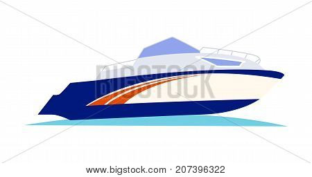 Blue with orange pattern speed motorboat on blue sea water on white background vector illustration. Black outboard motor is installed on the rear. Hull is high and white, starboard is shown