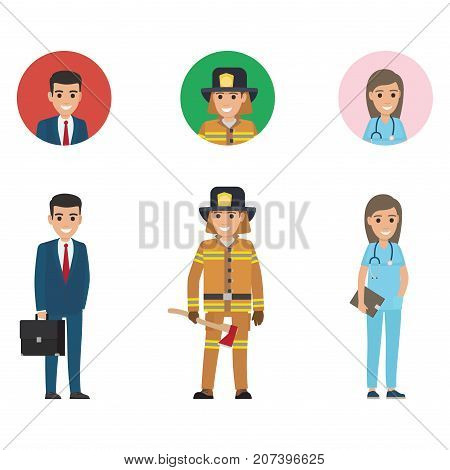 Professions set full length and web buttons vector. Young manager, lifesaver with long axe, doctor or nurse with stethoscope and dark tablet