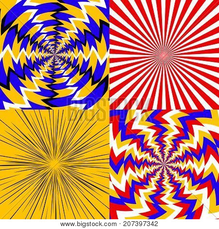 Set of psychedelic spiral with radial rays, optical spin, vortex backgrounds - vector