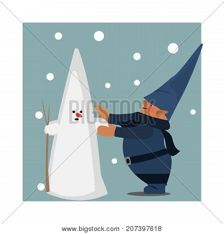 Gnome sculpts a snowman. Vector flat illustration. Winter. Happy day. Magical story.