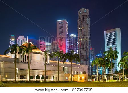 Singapore Parliament. Downtown On Background