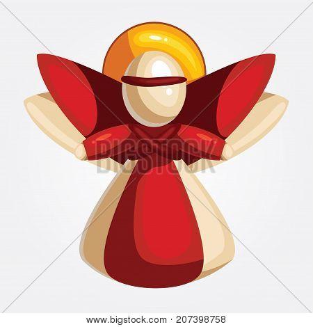 Vector illustration of a cartoon christmas angel. Greeting card