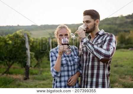 Wine grower and people in winery vineyard