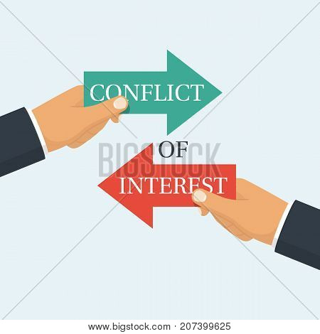 Conflict of interest. Business concept. Two businessmen keep the arrows red and green against each other. Vector illustration flat design. Isolated on white. Rivalry metaphor. Competitiveness symbol.