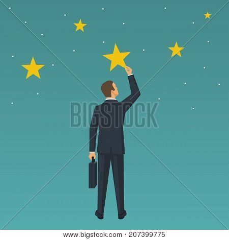 Get the star. Reach height. Businessman holds a big yellow star isolated in background night sky. Get there. Concept of reward, victory. Vector illustration flat design. Successful achievement.
