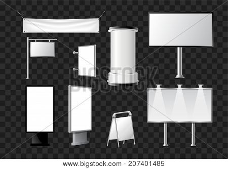 Set of advertising pillars, columns, pennants - modern vector isolated objects on transparent background. Realistic white and black roll up and pop up banner stands, tripods, booths for promo offers