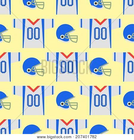 American football player uniform sport game seamless pattern vector cartoon style quarterback jumping success usa athlete. Professional competition floodlit challenge culture fitness.