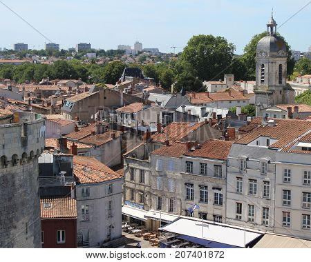 LA ROCHELLE, FRANCE, JULY 17 2017: View of the Old Town of La Rochelle from St Nicholas Tower. It is one of the most historically rich cities on the Atlantic coast with a strong tourism industry.