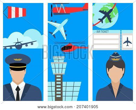 Aviation brochure vector set airline graphic illustration station concept airport flayer departure terminal plane. Transport business flight tourism vector.