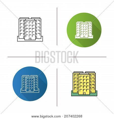 Multi-storey building icon. Flat design, linear and color styles. Apartment house. Isolated vector illustrations
