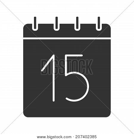 Fifteenth day of month glyph icon. Date silhouette symbol. Wall calendar with 15 sign. Negative space. Vector isolated illustration