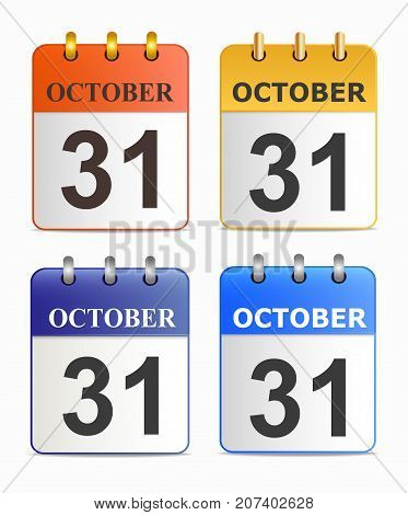 Halloween on page of calendar in different versions. Date on calendar sheet October 31. Tear-off notepad on rings. Template can be used for any design, on web sites. Vector icon in flat style.