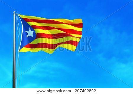 Catalonia flag on the blue sky background. 3D illustration