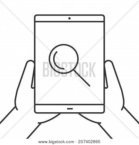 Hands holding tablet computer linear icon. Searching. Thin line illustration. Tablet computer with magnifying glass. Contour symbol. Vector isolated outline drawing