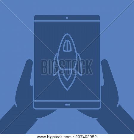Hands holding tablet computer glyph color icon. Silhouette symbol. Tablet computer with rocket. Negative space. Vector isolated illustration