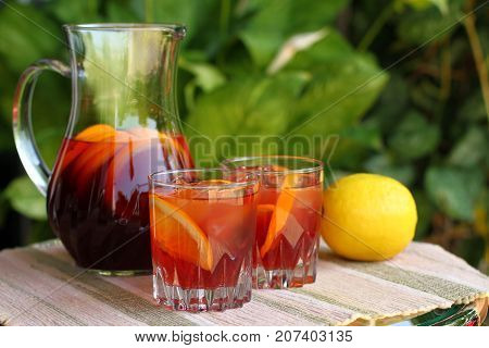 Tequila sunrise cocktail with Tequila, orange juice, grenadine syrup and soda water
