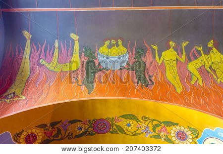Frescoes Depict Punishment Of Sinners In Hell, Interior Of Holy Trinity Cathedral