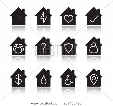 Houses drop shadow black glyph icons set. Home buildings with lightning, heart, tick and question marks, people, wheelchair, protection shield, dollar sign inside. Isolated vector illustrations