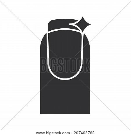Nail polishing glyph icon. Silhouette symbol. Burnishing, grinding. Negative space. Vector isolated illustration