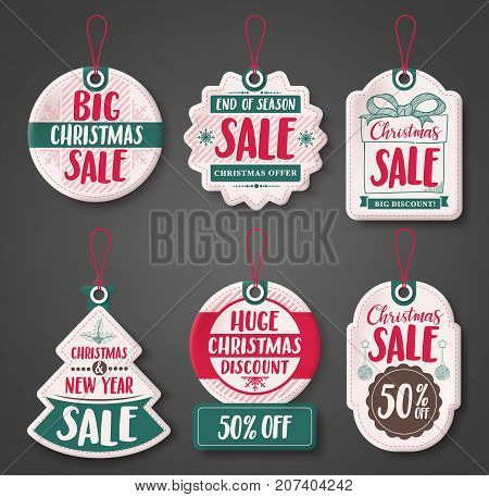 Christmas sale price tags vector set with different discount text and shapes of white paper cut label hanging for season promotion. Vector illustration.