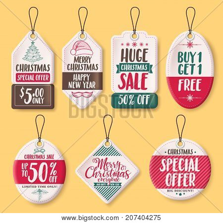 Christmas paper sale tags vector set with discount text like special offer, huge sale, buy 1 get 1 free, and greetings for christmas holiday promotion. Vector illustration.