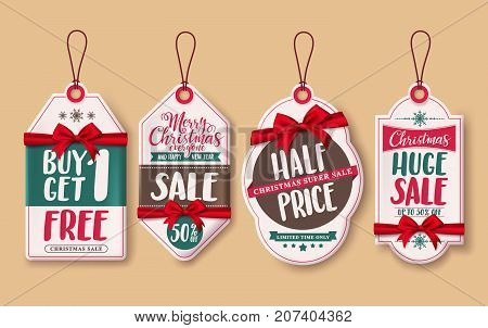 Christmas sale price tags vector set with red ribbons and discount promotions hanging for christmas season retail promotion. Vector illustration.