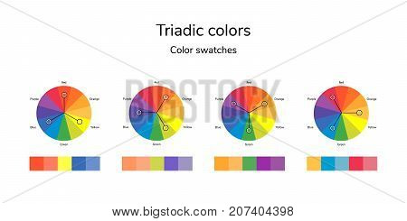 vector illustration of color circle, infographics, palette, triadic color swatches