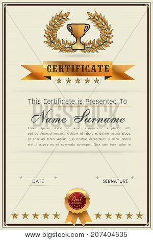 Graceful certificate template with Luxury and modern pattern Qualification certificate blank template with elegantGold with beigeVector illustration