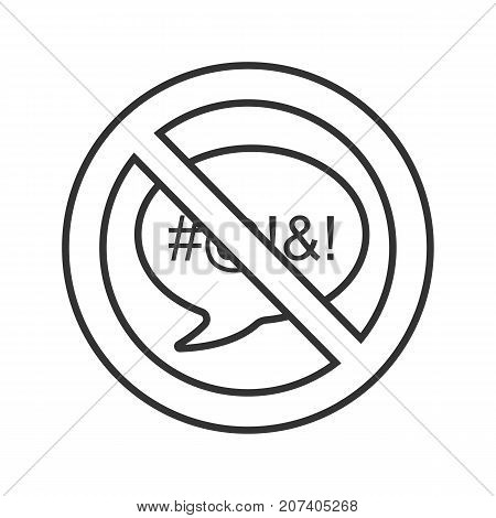 Forbidden sign with speech bubble linear icon. Dirty language prohibition. Thin line illustration. Stop contour symbol. Vector isolated outline drawing