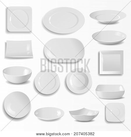 Blank ceramic plates set realistic kitchen dishes template cooking dishware round empty tableware vector illustration. Porcelain clean meal utensil cookware.